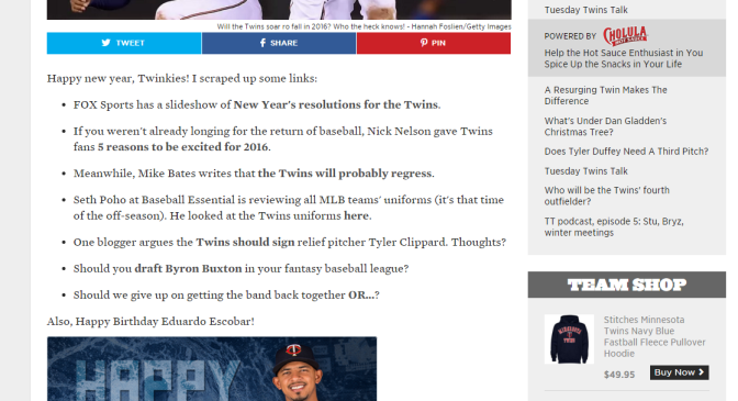 "Appearing on SB Nation's Twinkie Town: Add ""One Blogger"" to My List of Aliases"